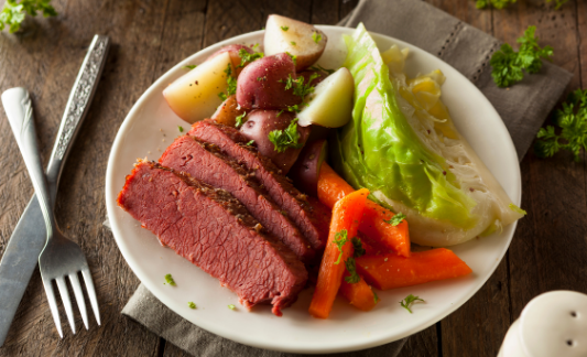 Plate with corned beef, cabbage and carrots.
