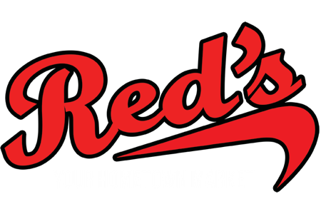 A theme logo of Red's Hometown Market